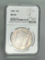 1889  MORGAN SILVER DOLLAR  NGC   MINT STATE 63   TONED OBV & BRIGHT WHITE REV