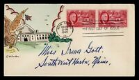 DR WHO 1945 FDC ROOSEVELT WINSTON HAND COLORED CACHET WARM S