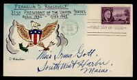 DR WHO 1945 FDC ROOSEVELT WINSTON HAND COLORED CACHET WHITE