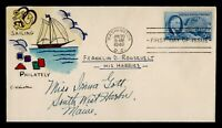 DR WHO 1946 FDC ROOSEVELT 4 FREEDOMS WINSTON HAND COLORED CA