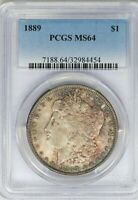 1889-P PCGS SILVER MORGAN DOLLAR MINT STATE 64 MINT STATE TONED COIN