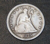 1875 S SEATED LIBERTY TWENTY 20 CENT PIECE SILVER COIN