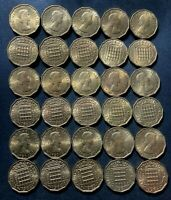 OLD GREAT BRITAIN COIN LOT   3 PENCE   30 AU/UNC COINS   GRE