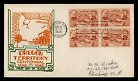 DR WHO 1948 FDC OREGON TERRITORY CENTENNIAL CW GEORGE CACHET
