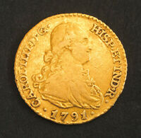 1791 CHARLES IV OF SPAIN. BEAUTIFUL SPANISH GOLD 1 ESCUDO COIN.  3.36GM  AXF