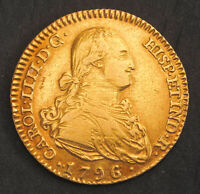 1796 CHARLES IV OF SPAIN. BEAUTIFUL SPANISH GOLD 2 ESCUDOS COIN.  6.78GM   AXF