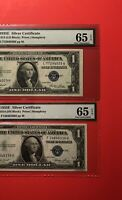 1935E-2 SILVER CERTIFICATE $1 NOTES,GRADED BY PMG GEM UNCIRCULATED 65 EPQDEAL