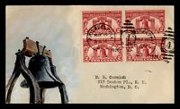 1926 FDC SESQUICENTENNIAL EXPO BLOCK HAND PAINTED ADD ON CAC