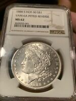 1888 S MORGAN DOLLAR NGC MINT STATE 62 SUPER  VAM 6A ALSO ROTATED DIE CHECK PICS