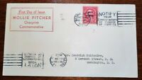 1929 MOLLY PITCHER CACHED FIRST DAY COVER SCOTT'S 646 DOUBLE