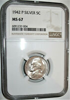 LOT OF ONE  1  NGC CERTIFIED MS67 1942 P WARTIME SILVER ALLO