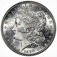 1890-S MORGAN SILVER DOLLAR GRADED MINT STATE 62 BY PCGS, GOLD SHIELD