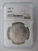 1880 MORGAN SILVER DOLLAR GRADED MINT STATE 63 BY NGC