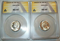 LOT OF TWO ANACS CERTIFIED MS65 SILVER ALLOY NICKEL COINS: 1