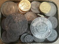 OLD BRITISH COINS JOB LOT / TIN OF   OLD COLLECTION   BRITIS