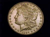 1894-S MORGAN DOLLAR, ABOUT UNCIRCULATED.