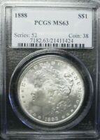 1888-P  MORGAN DOLLAR PCGS MINT STATE 63      DOLLAR PRICES ARE GOING UP