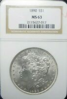 1890-P  MORGAN DOLLAR NGC MINT STATE 63    DOLLAR PRICES ARE GOING UP