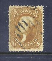 US STAMPS   67   USED   5 CENT JEFFERSON BUFF ISSUE   CV $75