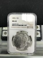 1896 $1 SILVER MORGAN DOLLAR GRADED BY NGC AS MINT STATE 63