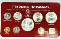 1972 COINS OF THE BAHAMAS UNCIRCULATED 9 COIN SILVER SPECIME