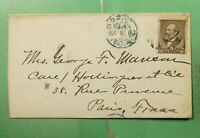 DR WHO 1887 BOSTON MA TO FRANCE  G29968