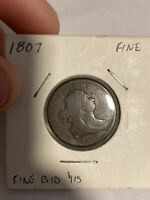 1807  DRAPED BUST HALF CENT  FINE  TYPE COIN