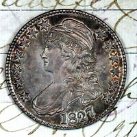 1827   CHOICE AU  CAPPED BUST HALF DOLLAR   FROM ORIGINAL COLLECTION