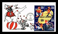 US COVER AMERICAN CIRCUS FDC SETENANT THERMOGRAPHED CACHET U