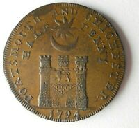 1794 GREAT BRITAIN  PORTSMOUTH  1/2 PENNY   AU RARE COIN   B