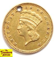 1874 P LARGE INDIAN LIBERTY HEAD TYPE 3 1 DOLLAR G$1 90  PURE GOLD COIN HOLED NR