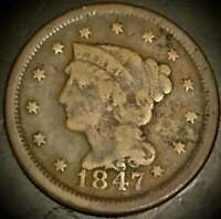 1847 OVER 47 BRAIDED HAIR LARGE CENT