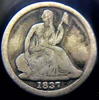 1837 SEATED HALF DIME SMALL DATE
