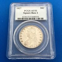 1827 CAPPED BUST SILVER HALF DOLLAR 50C SQUARE BASE 2 PCGS AU53 EARLY US COIN