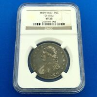 1829/1827 CAPPED BUST SILVER HALF DOLLAR 50C OVERDATE NGC VF35 O-101A COIN