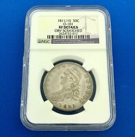 1811/10 CAPPED BUST SILVER HALF DOLLAR 50C LETTERED EDGE NGC EXTRA FINE  DETAILS COIN
