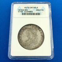1819/8 CAPPED BUST SILVER HALF DOLLAR 50C LETTERED EDGE ANACS AU53 DETAILS COIN