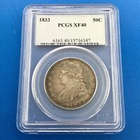 1833 CAPPED BUST SILVER HALF DOLLAR 50C LETTERED EDGE PCGS EXTRA FINE 40 RAINBOW TONING