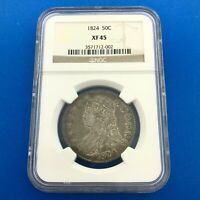 1824 CAPPED BUST SILVER HALF DOLLAR 50C LETTERED EDGE NGC EXTRA FINE 45 EARLY US COIN