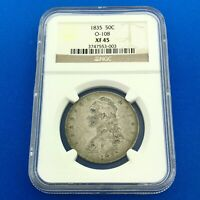 1835 CAPPED BUST SILVER HALF DOLLAR 50C LETTERED EDGE NGC EXTRA FINE 45 O-108 EARLY COIN