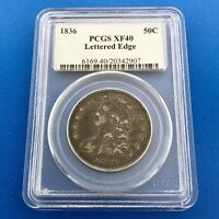 1836 CAPPED BUST SILVER HALF DOLLAR 50C LETTERED EDGE PCGS EXTRA FINE 40 EARLY US COIN
