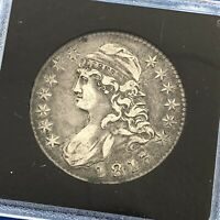 1813 CAPPED BUST SILVER HALF DOLLAR 50C LETTERED EDGE UNGRADED EARLY US COIN
