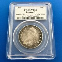 1823 CAPPED BUST SILVER HALF DOLLAR 50C LETTERED EDGE BROKEN 3 PCGS VF30 COIN