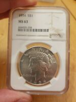1934 P MINT STATE 63 PEACE SILVER DOLLAR $1 NGC GRADED