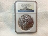 2011 S 25TH ANNIVERSARY SILVER EAGLE 1OZ NGC MS70 EARLY RELEASES BURNISHED