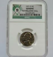 1971 D JEFFERSON NICKEL NGC AUTHENTICATED FROM TED WILLIAMS COLLECTION- F9079