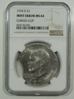 1974 D EISENHOWER IKE DOLLAR NGC MINT STATE 64 MINT ERROR LARGE CURVED CLIP BRIGHT COIN
