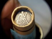 1887 SEATED DIME 1890 INDIAN HEAD MIXED OLD ROLL PENNIES FROM DADS ATTIC 1809