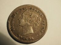 1872 H  CANADA SILVER FIVE CENT COIN 5C CANADIAN CIRCULATED