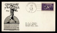 DR WHO 1939 FDC BASEBALL CENTENNIAL SPORTS 855 ANDERSON CACH
